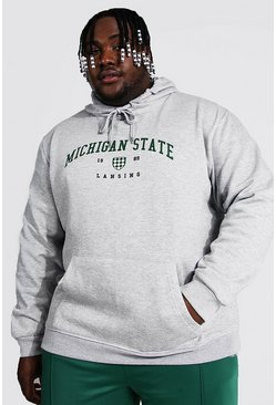Grey marl grey Plus Size Michigan State Varsity Hoodie