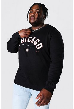 Black Plus Size Chicago Varsity Print Sweatshirt