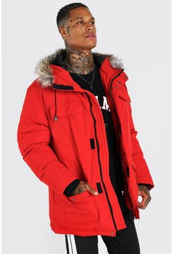 Red Faux Fur Hooded Arctic Parka