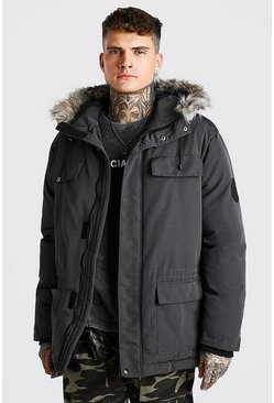 Charcoal grey Faux Fur Hooded Arctic Parka