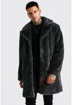 Slate grey Faux Fur Overcoat