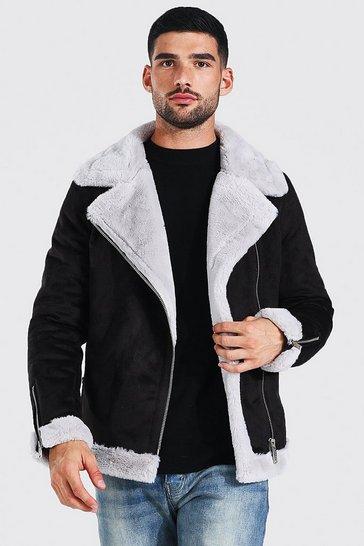 Black Faux Fur Lined Suede Aviator Jacket