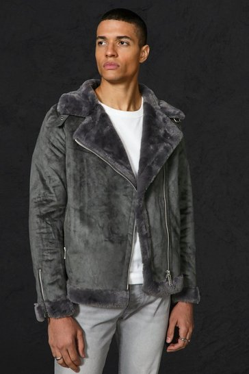 Charcoal grey Faux Fur Lined Suede Aviator Jacket