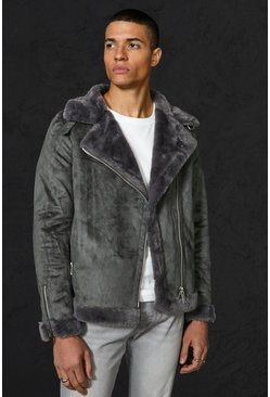 Charcoal grey Faux Fur Lines Suede Aviator