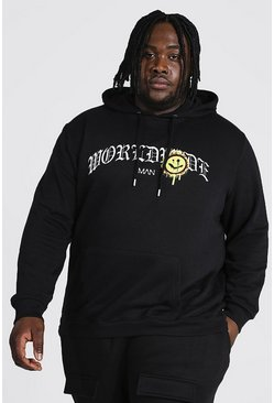 Black Plus Size Gothic Text Drip Face Print Hoodie