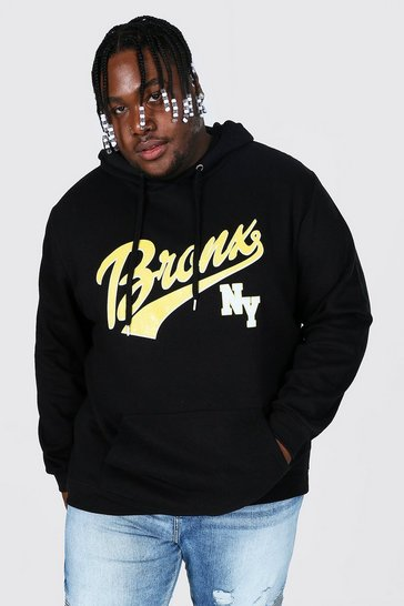Black Plus Size Bronx Nyc Varsity Print Hoodie