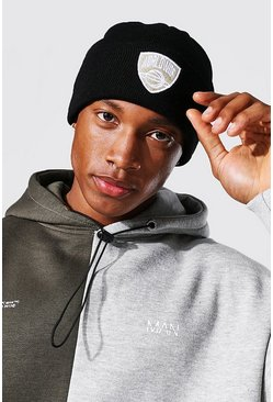 Varsity Badge Micro Beanie, Black nero