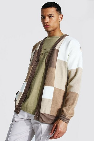 Cream white Tall Patchwork Oversized Knitted Cardigan