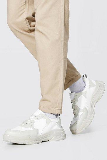 Ecru white Chunky Colour Block Trainer