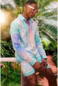 Mint green Long Sleeve Viscose Tie Dye Border Shirt