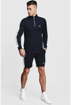 Navy Tricot MAN Funnel Neck Short Tracksuit