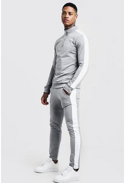 Ash grey Funnel Neck Contrast Panel Tricot MAN Tracksuit