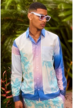 Long Sleeve Viscose Palm Border Shirt, Blue azzurro