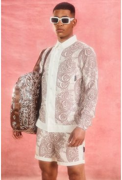 Ecru white Long Sleeve Viscose Paisley Border Shirt