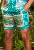 Mint green Mid Length Satin Bandana Shorts