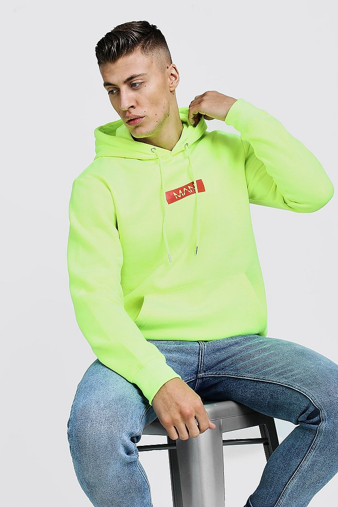 Man Red Box Neon Hoodie | Boohoo UK