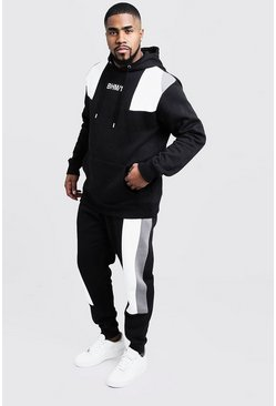Black Plus Size Colour Block Tracksuit