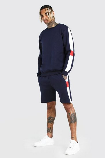 Navy Sweater Short Tracksuit With Side Panels