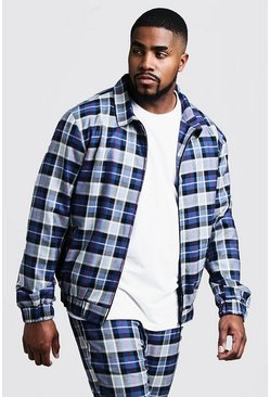Blue Big & Tall Tartan Check Smart Coach Jacket