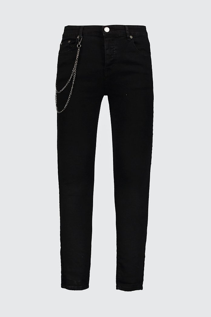 Spray On Skinny Jeans With Chain Detail Boohoo