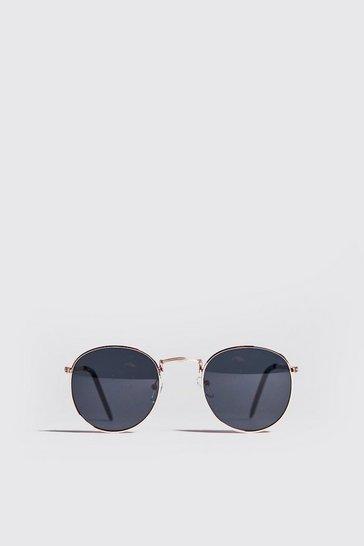 Black Metal Frame Round Sunglasses