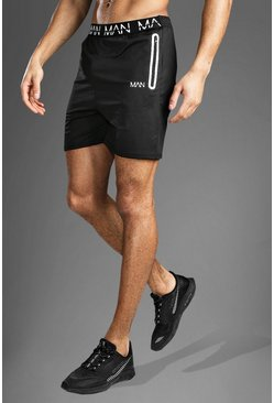 Zwart black Man Fitness Shorts Met Tekst Op Band