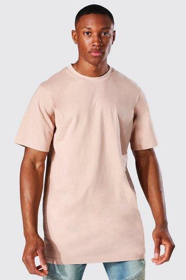 Taupe beige Longline Crew Neck T-shirt