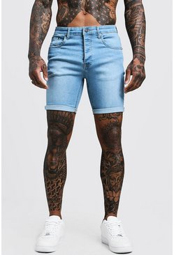 Lichtblauw blue Lichtblauwe Stretch Skinny Fit Denim Shorts