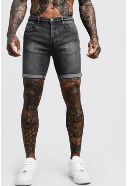 Stretch Skinny Fit Charcoal Denim Shorts