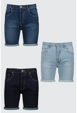 3 Pack Denim Shorts In Skinny Fit, Multi Мульти