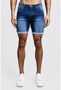 Stretch Skinny Fit Mid Blue Denim Shorts