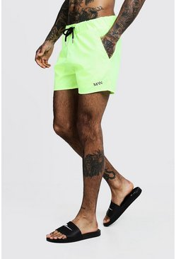 Neon-geel yellow Original MAN Middellange Zwemshort.