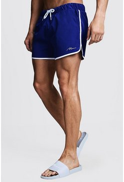 Kobalt blue MAN Signature Runner Zwemshort