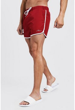Red MAN Signature Runner Swim Short