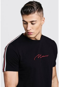 Black svart MAN Signature Curved Hem T-Shirt With Side Tape