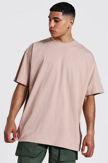 Taupe beige Oversized Crew Neck T-shirt