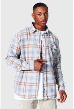 Oversized Check Shirt, Ecru bianco