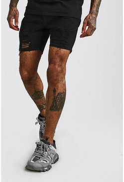 Black svart Slim Fit Heavily Distressed Denim Shorts