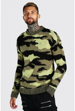 Khaki Brushed Knitted Camo Drop Shoulder Jumper