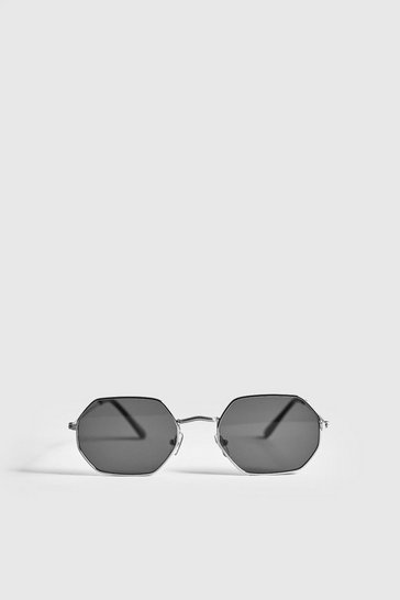 Silver Black Lens Metal Frame Hexagonal Sunglasses