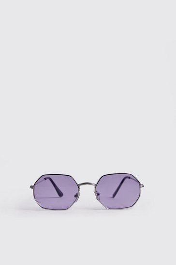 Silver Purple Lens Metal Frame Hexagonal Sunglasses