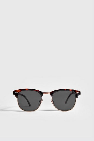 Brown Retro Sunglasses With Tortoise Frame
