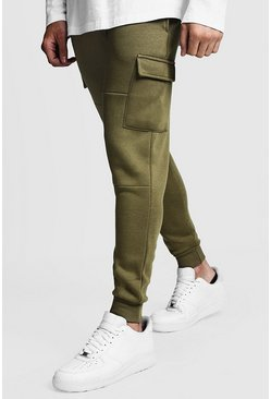 Olive green Skinny Fit Panelled Cargo Joggers
