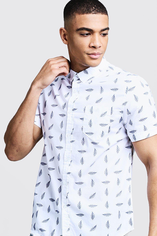 Camicia da notte a maniche corte con stampa piuma