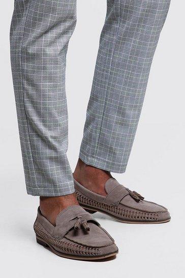 Grey Faux Suede Weave Tassel Loafer