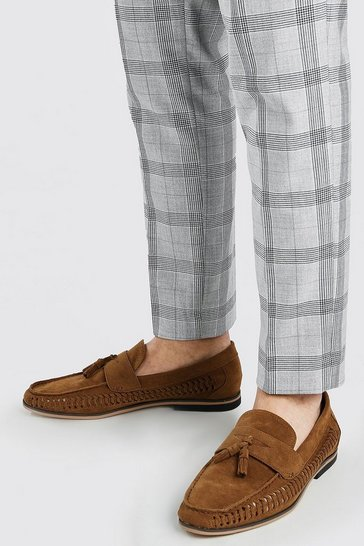 Tan brown Faux Suede Weave Tassel Loafer