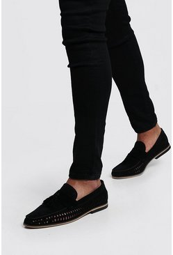 Black svart Faux Suede Weave Tassel Loafer