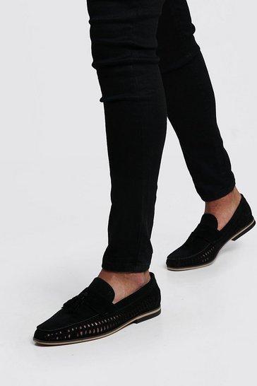 Black Faux Suede Weave Tassel Loafer