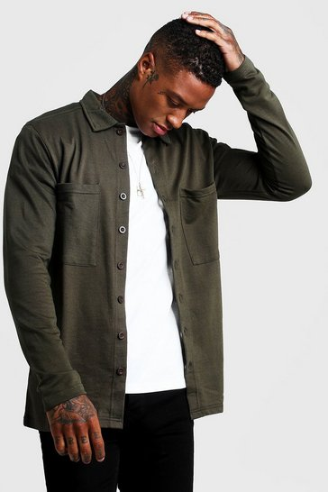 Khaki Jersey Utility Button Through Overshirt