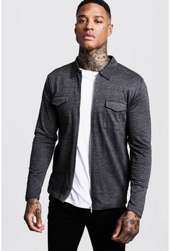 Charcoal grey Jersey Utility Zip Overshirt